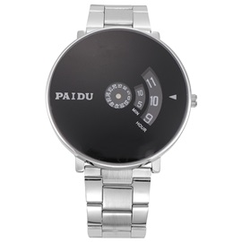 Round Dial with Letters Stainless Steel Band Men Watch