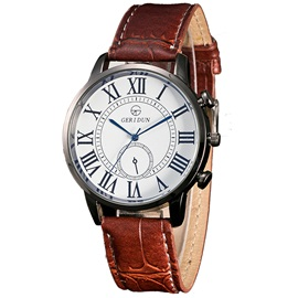 Leather Band Roman Numeral Design Men's Watch