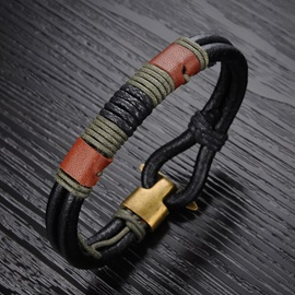 Color Block Patchwork Alloy Buckle Bracelet