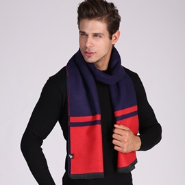 Concise Color Block Long Thicken Men's Scarf