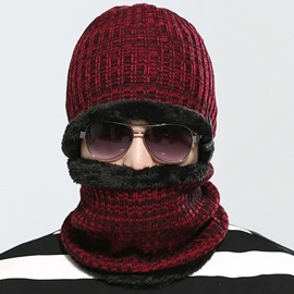 Solid Color Thicken Men's Knitted Hat with Neck Warmer