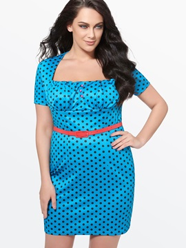 Vintage Polka Dots Short Sleeve Work Bodycon Dress