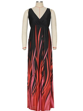 Chic V Neck Empire Waist Maxi Dress