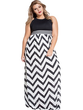 Wave-out Print Hollow Expansion Maxi Dress
