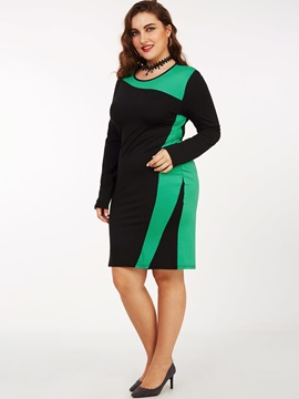 Color Block Pullover Patchwork Bodycon Dress
