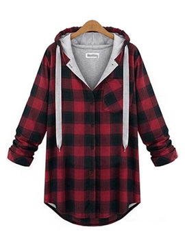 Color Block Plaid Cap Plus Size Hoodie