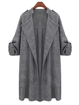 Chic Roll-up Sleeves Plus Size Trench Coat