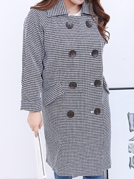 Chic Pattern Double Breasted Plus Size Trench Coat