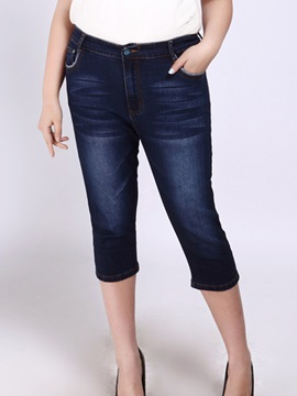 Plus Size Slim Frayed Pencil Jean