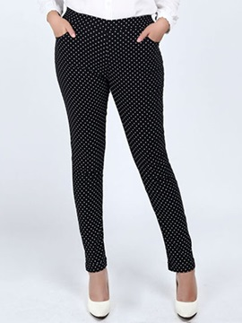 Plus Size Polka Dots Printing Pencil Leggings