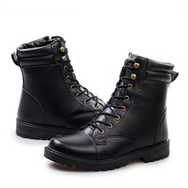 Round Toe Lace-Up Martin Boots