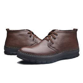 Round Toe PU Lace-Up Men's Casual Shoes