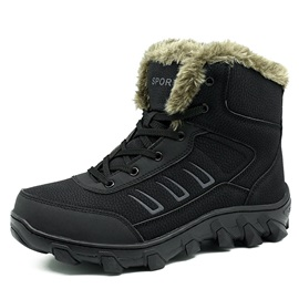 PU Plain Round Toe Snow Boots