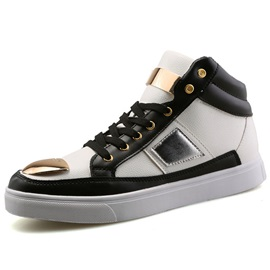 PU Color Block Lace-Up Boots for Men