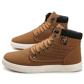 PU Lace-Up Round Toe Cheap Men's Boots
