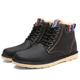 PU Round Toe Solid Color Cheap Men's Winter Boots