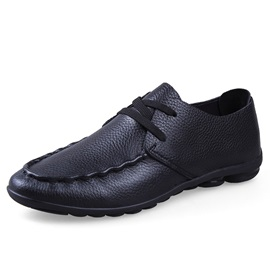 Solid Color Quilted Lace-Up Men's Shoes