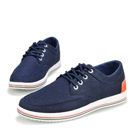 Striped Round Toe Lace-Up Men's Shoes