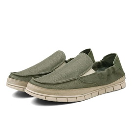 Solid Color Linen Slip-On Men's Shoes