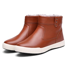 Solid Color PU Slip-On Men's Boots