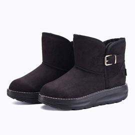 Suede Buckles Slip-On Snow Boots