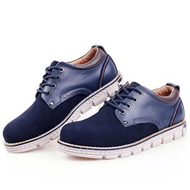 PU Patchwork Lace-Up Men's Casual Shoes