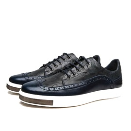 PU Lace-Up Wingtip Skater Shoes