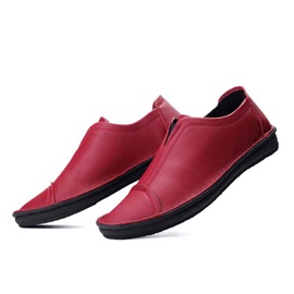 British PU Thread Slip-On Loafers