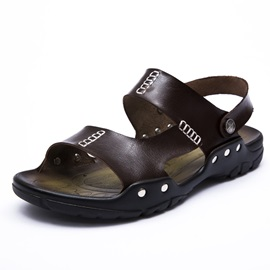 British PU Open-Toe Flat Sandals