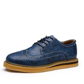 PU Round Toe Wingtip Lace-Up Brogues