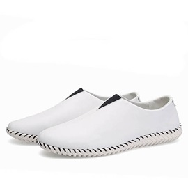 Breathable Solid Color PU Slip-On Loafers