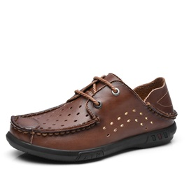 Retro PU Hollow Lace-Up Casual Shoes for Men