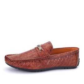 British Embossed PU Slip-On Loafers