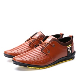Breathable PU Lace-Up Front Men's Casual Shoes
