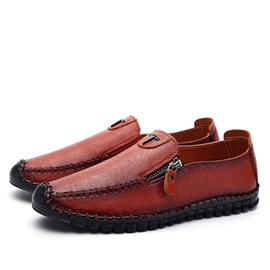 Retro PU Thread Oblique Zipper Loafers