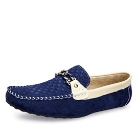 Color Block Suede Slip-On Driving Shoes