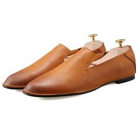 Solid Color PU Round Toe Men's Casual Shoes