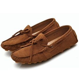 Nubuck Leather Slip-On Round-Toe Casual
