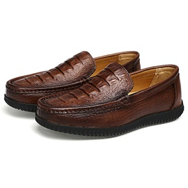 Embossed Leather Plain Slip-On Men's Casual Shoes