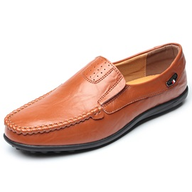 PU Plain Slip-On Square Toe Men's Shoes