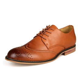 Round Toe Lace-Up Men's Brogue