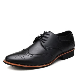 Elegant PU Wingtip Lace-Up Dress Shoes