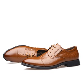 Elegant Embossed PU Lace-Up Men's Dress Shoes