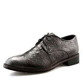 British Embossed PU Lace-Up Men's Dress Shoes
