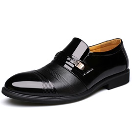 Patent Leather Slip-On Round Toe Men's Dress Shoes