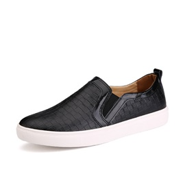 Black Embossed Slip-On Loafers
