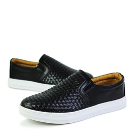 Embossed Round Toe Slip-on Men's Sneakers