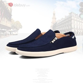Solid Color Suede Zippered Men's Shoes