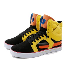 Color Block Lace-Up Velcro Sneakers