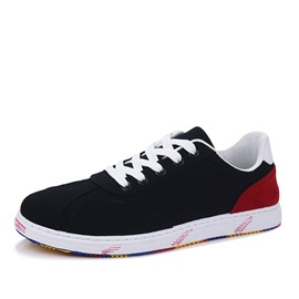 Contrast Color Suede Lace-Up Skater Shoes
